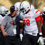 Grayson High School offensive tackle Tony Gray and some of the nations best high school football players practice and run drills during the first day of practice for the 2016 Under Armour All-America High School Football Game at the ESPN Wide World of Sports in Orlando, Florida  December 38th, 2016. Gator Country photo by David Bowie.