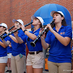 The University of Florida Gator Band plays on on as the Gators walk into and across Steve Suprrier Field at  Ben Hill Griffin Stadium during Gator Walk as they prepare for the 2017 Orange and Blue Debut.  November 12th, 2016.  Gator Country photo by David Bowie.