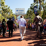 Florida Gators Head Coach Jim McElwain as the Gators walk into and across Steve Suprrier Field at  Ben Hill Griffin Stadium during Gator Walk as they prepare for the 2017 Orange and Blue Debut.  November 12th, 2016.  Gator Country photo by David Bowie.