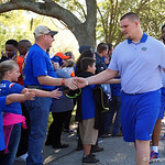 Florida Gators offensive lineman Brett Heggie as the Gators walk into and across Steve Suprrier Field at  Ben Hill Griffin Stadium during Gator Walk as they prepare for the 2017 Orange and Blue Debut.  November 12th, 2016.  Gator Country photo by David Bowie.