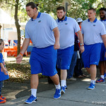 Florida Gators offensive lineman Tyler Jordan as the Gators walk into and across Steve Suprrier Field at  Ben Hill Griffin Stadium during Gator Walk as they prepare for the 2017 Orange and Blue Debut.  November 12th, 2016.  Gator Country photo by David Bowie.