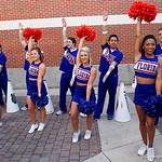 The University of Florida Gator Cheerleaders cheer on as the Gators walk into and across Steve Suprrier Field at  Ben Hill Griffin Stadium during Gator Walk as they prepare for the 2017 Orange and Blue Debut.  November 12th, 2016.  Gator Country photo by David Bowie.