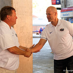 Florida Gators Head Coach Jim McElwain and Florida Gators Hall of Fame quarterback Danny Wuerffel as the Gators walk into and across Steve Suprrier Field at  Ben Hill Griffin Stadium during Gator Walk as they prepare for the 2017 Orange and Blue Debut.  November 12th, 2016.  Gator Country photo by David Bowie.