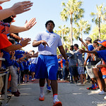 Florida Gators offensive lineman Fred Johnson as the Gators walk into and across Steve Suprrier Field at  Ben Hill Griffin Stadium during Gator Walk as they prepare for the 2017 Orange and Blue Debut.  November 12th, 2016.  Gator Country photo by David Bowie.