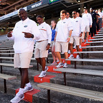 Florida Gators Assistant Coach, Defensive Line Chris Rumph as the Gators walk into and across Steve Suprrier Field at  Ben Hill Griffin Stadium during Gator Walk as they prepare for the 2017 Orange and Blue Debut.  November 12th, 2016.  Gator Country photo by David Bowie.