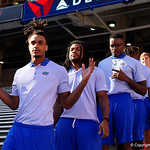 Florida Gators wide receiver Tyrie Cleveland as the Gators walk into and across Steve Suprrier Field at  Ben Hill Griffin Stadium during Gator Walk as they prepare for the 2017 Orange and Blue Debut.  November 12th, 2016.  Gator Country photo by David Bowie.