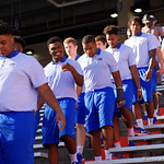 Florida Gators linebacker Kylan Johnson as the Gators walk into and across Steve Suprrier Field at  Ben Hill Griffin Stadium during Gator Walk as they prepare for the 2017 Orange and Blue Debut.  November 12th, 2016.  Gator Country photo by David Bowie.