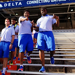 Florida Gators defensive lineman Jachai Polite as the Gators walk into and across Steve Suprrier Field at  Ben Hill Griffin Stadium during Gator Walk as they prepare for the 2017 Orange and Blue Debut.  November 12th, 2016.  Gator Country photo by David Bowie.
