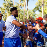 Florida Gators offensive lineman Martez Ivey as the Gators walk into and across Steve Suprrier Field at  Ben Hill Griffin Stadium during Gator Walk as they prepare for the 2017 Orange and Blue Debut.  November 12th, 2016.  Gator Country photo by David Bowie.