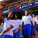 Florida Gators running back Jordan Scarlett as the Gators walk into and across Steve Suprrier Field at  Ben Hill Griffin Stadium during Gator Walk as they prepare for the 2017 Orange and Blue Debut.  November 12th, 2016.  Gator Country photo by David Bowie.