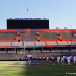 The Florida ators walk into and across Steve Suprrier Field at  Ben Hill Griffin Stadium during Gator Walk as they prepare for the 2017 Orange and Blue Debut.  November 12th, 2016.  Gator Country photo by David Bowie.