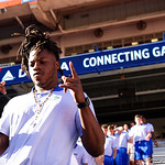 Florida Gators defensive back Marcell Harris as the Gators walk into and across Steve Suprrier Field at  Ben Hill Griffin Stadium during Gator Walk as they prepare for the 2017 Orange and Blue Debut.  November 12th, 2016.  Gator Country photo by David Bowie.