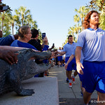 as the Gators walk into and across Steve Suprrier Field at  Ben Hill Griffin Stadium during Gator Walk as they prepare for the 2017 Orange and Blue Debut.  November 12th, 2016.  Gator Country photo by David Bowie.