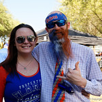 Florida Gator fans showing their love for their team as the Gators walk into and across Steve Suprrier Field at  Ben Hill Griffin Stadium during Gator Walk as they prepare for the 2017 Orange and Blue Debut.  November 12th, 2016.  Gator Country photo by David Bowie.