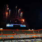 Fireworks are shot off over Ben Hill Griffin Stadium as the Florida Gators conclude their 2017 spring practices with the 2017 Orange and Blue Debut.  April 7th, 2017.  Gator Country photo by David Bowie.