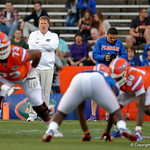 Florida Gators Head Coach Jim McElwain watches on from behind the line of scrimmage as the Gators conclude their 2017 spring practices with the 2017 Orange and Blue Debut.  April 7th, 2017.  Gator Country photo by David Bowie.