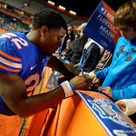 Florida Gators running back Lamical Perine signing autographs for the fans as the Gators conclude their 2017 spring practices with the 2017 Orange and Blue Debut.  April 7th, 2017.  Gator Country photo by David Bowie.