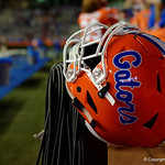 A Florida Gators helmet rests on the sidleine as the Gators conclude their 2017 spring practices with the 2017 Orange and Blue Debut.  April 7th, 2017.  Gator Country photo by David Bowie.