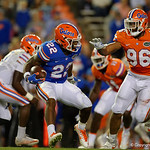 Florida Gators running back Lamical Perine rushing the ball as the Gators conclude their 2017 spring practices with the 2017 Orange and Blue Debut.  April 7th, 2017.  Gator Country photo by David Bowie.