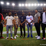 Former Florida Gators David Sharpe, Brian Poole, Lucious Purifoy, Marcus Maye, Jonathan Bullard and Dante Fowler pose for a photo as the Gators conclude their 2017 spring practices with the 2017 Orange and Blue Debut.  April 7th, 2017.  Gator Country photo by David Bowie.