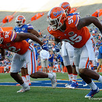 Florida Gators defensive lineman Keivonnis Davis and Florida Gators defensive lineman Jabari Zuniga during pre-game warmups as the Gators conclude their 2017 spring practices with the 2017 Orange and Blue Debut.  April 7th, 2017.  Gator Country photo by David Bowie.