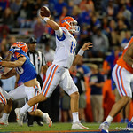 Florida Gators quarterback Feleipe Franks throwing downfield as the Gators conclude their 2017 spring practices with the 2017 Orange and Blue Debut.  April 7th, 2017.  Gator Country photo by David Bowie.