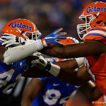 Florida Gators defensive lineman Jordan Smith and Florida Gators offensive lineman Martez Ivey battle at the line of scrimmage as the Gators conclude their 2017 spring practices with the 2017 Orange and Blue Debut.  April 7th, 2017.  Gator Country photo by David Bowie.