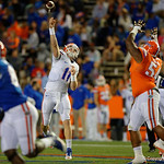 Florida Gators quarterback Kyle Trask throwing downfield as the Gators conclude their 2017 spring practices with the 2017 Orange and Blue Debut.  April 7th, 2017.  Gator Country photo by David Bowie.