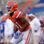 Florida Gators wide receiver Antonio Callaway during pre-game drills as the Gators conclude their 2017 spring practices with the 2017 Orange and Blue Debut.  April 7th, 2017.  Gator Country photo by David Bowie.