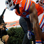 Florida Gators defensive back Chauncey Gardner gets ready to storm the field as the Gators conclude their 2017 spring practices with the 2017 Orange and Blue Debut.  April 7th, 2017.  Gator Country photo by David Bowie.