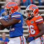 Florida Gators running back Lamical Perine and Florida Gators defensive back Marcell Harris during pre-game drills as the Gators conclude their 2017 spring practices with the 2017 Orange and Blue Debut.  April 7th, 2017.  Gator Country photo by David Bowie.