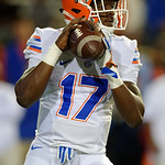 Florida Gators quarterback Kadarius Toney drops back to pass as the Gators conclude their 2017 spring practices with the 2017 Orange and Blue Debut.  April 7th, 2017.  Gator Country photo by David Bowie.