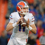 Florida Gators quarterback Kyle Trask scrambling downfield as the Gators conclude their 2017 spring practices with the 2017 Orange and Blue Debut.  April 7th, 2017.  Gator Country photo by David Bowie.