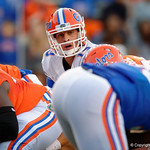 Florida Gators quarterback Feleipe Franks lining up under center as the Gators conclude their 2017 spring practices with the 2017 Orange and Blue Debut.  April 7th, 2017.  Gator Country photo by David Bowie.