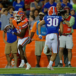 Florida Gators wide receiver Antonio Callaway catches a pass for a touchdown as the Gators conclude their 2017 spring practices with the 2017 Orange and Blue Debut.  April 7th, 2017.  Gator Country photo by David Bowie.