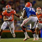 Florida Gators defensive lineman Cece Jefferson explodes off the line trying to get by offensive lineman Kadeem Telfortas the Gators conclude their 2017 spring practices with the 2017 Orange and Blue Debut.  April 7th, 2017.  Gator Country photo by David Bowie.