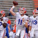 Florida Gators quarterback Kyle Trask throwing during pre-game drills as the Gators conclude their 2017 spring practices with the 2017 Orange and Blue Debut.  April 7th, 2017.  Gator Country photo by David Bowie.