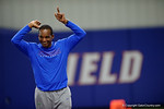 Florida Gators associate head coach Randy Shannon celebrates the end of the night as High School football players from Florida and Georgia run drills and compete against each other as the University of Florida Gators get their summer camp circuit underway as they host a 7 on 7 tournament and a offensive line/defensive line camp on Friday night.  June 3rd, 2016. Gator Country photo by David Bowie.