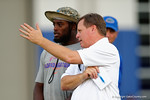 Florida Gators head coach Jim McElwain and Florida Gators linebacker Jarrad Davis watch on as High School football players from Florida and Georgia run drills and compete against each other as the University of Florida Gators get their summer camp circuit underway as they host a 7 on 7 tournament and a offensive line/defensive line camp on Friday night.  June 3rd, 2016. Gator Country photo by David Bowie.
