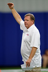 Florida Gators head coach Jim McElwain talking to High School football players from Florida and Georgia run drills and compete against each other as the University of Florida Gators get their summer camp circuit underway as they host a 7 on 7 tournament and a offensive line/defensive line camp on Friday night.  June 3rd, 2016. Gator Country photo by David Bowie.