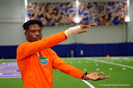 Florida Gators commit Kadarius Toney watches the 7 on 7 tournament and a offensive line/defensive line camp on Friday night.  June 3rd, 2016. Gator Country photo by David Bowie.