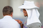Florida Gators defensive back Jalen Tabor hanging out with Florida Gators head coach Jim McElwain as High School football players from Florida and Georgia run drills and compete against each other as the University of Florida Gators get their summer camp circuit underway as they host a 7 on 7 tournament and a offensive line/defensive line camp on Friday night.  June 3rd, 2016. Gator Country photo by David Bowie.