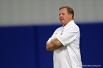 Florida Gators head coach Jim McElwain watches on as High School football players from Florida and Georgia run drills and compete against each other as the University of Florida Gators get their summer camp circuit underway as they host a 7 on 7 tournament and a offensive line/defensive line camp on Friday night.  June 3rd, 2016. Gator Country photo by David Bowie.