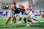 Florida Gators defensive lineman Luke Ancrum hitting the bag as the Gators run through practice drills finishing up their first week of fall practice.  August 5th, 2016.  Gator Country photo by David Bowie.