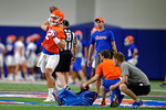 Florida Gators quarterback Austin Appleby throwing downfield as the Gators run through practice drills finishing up their first week of fall practice.  August 5th, 2016.  Gator Country photo by David Bowie.