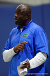 Florida Gators Assistant Coach, Defensive Line Chris Rumph coaching up his d-line players as the Gators run through practice drills finishing up their first week of fall practice.  August 5th, 2016.  Gator Country photo by David Bowie.