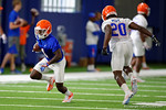 Florida Gators wide receiver Brandon Powell gets free and sprints downfield as the Gators run through practice drills finishing up their first week of fall practice.  August 5th, 2016.  Gator Country photo by David Bowie.