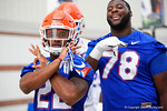 Florida Gators running back Lamical Perine and Florida Gators offensive lineman David Sharpe as the Gators march into the Gators indoor practice facility to start fall practice.  August 5th, 2016.  Gator Country photo by David Bowie.