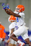 Florida Gators defensive back Nick Washington soars through the air toward a ball as the Gators run through practice drills finishing up their first week of fall practice.  August 5th, 2016.  Gator Country photo by David Bowie.