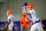 Florida Gators defensive back Nick Oelrich traps the ball with his helmet for a catch as the Gators run through practice drills finishing up their first week of fall practice.  August 5th, 2016.  Gator Country photo by David Bowie.